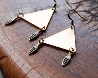 Trinity Triangle Metal Earrings / Tribal Primitive Style Gypsy Earrings
