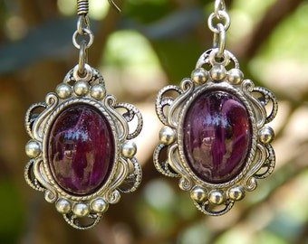 Amethyst Earrings- Vintage Glass and Antiqued Silver (E-099)