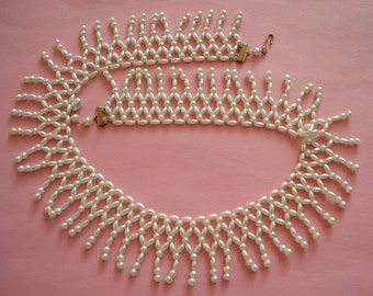 Vintage White Glass Pearl Bib Collar Necklace