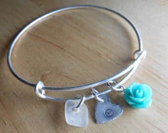Sea Glass Expandable Bracelet - Beach Glass Bangle Bracelet - THE EXPANDABLES