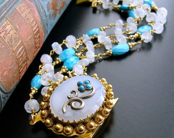 Sleeping Beauty Turquoise Moonstone Georgian Pinchbeck Bracelet - Dottie Bracelet
