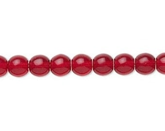 6 MM clear RUBY RED Druk beads (27)