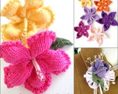 Flower Knitting Pattern Set - Hibiscus, Sakura, Rose Bud Corsage/Boutonniere - Instant Download PDF