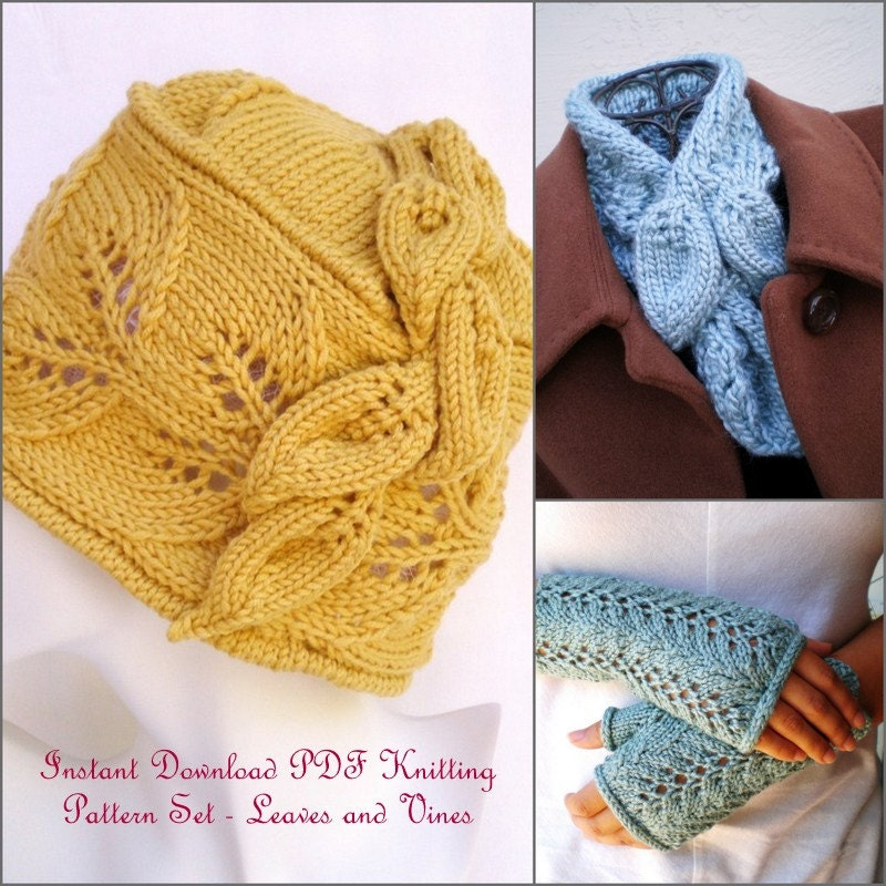 Instant Download Knitting Patterns Hat Collar Scarf and