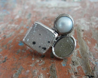 Druzy Quartz Sterling Silver Ring with Pearl one of a kind size 6.5 Large Multistone Statement Ring