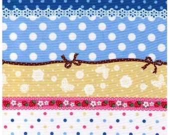 SALE (30) HALF YARD - Blue Stripes Cheater - Cosmo Textiles, Japanese Import, Blue, Pink, Yellow, Dots, Ribbon, Flowers, Strawberries