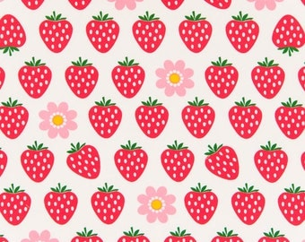 HALF YARD - Strawberries and Pink Daisies on WHITE - Cosmo Textile Imported Japanese