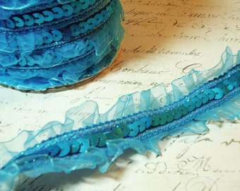 """1 1/2"""" Wide Turquoise Blue Sequin Trim with Sheer Finished Ruffled Edges"""