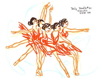 No.20 Frenetic / Original Artwork / Dance Drawing / Daily Doodle / Dance Lover / Ballet / Movement / Drawing of Ballerina in Motion