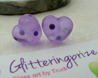 Lampwork Glass  Beads Perfect Purple Dottie Heart