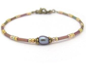 Friendship Bracelet, Pearl Bracelet, Mixed Bead Bracelet, Blue Pearl Bracelet, Petite Modern Pearl Bracelet, June Birthstone Jewelry