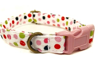 Candy Dot - Organic Cotton CAT Collar Breakaway Safety Multicolor Polka Dots  - All Antique Brass Hardware