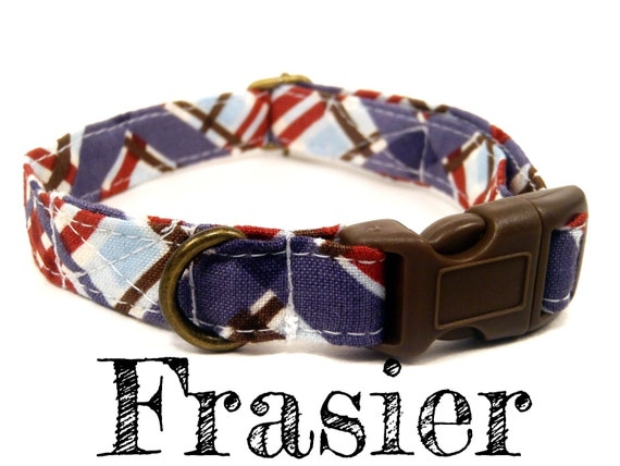 """LAST ONE - Blue Brown Red Plaid Dog Collar - Organic Cotton - Antique Brass Hardware - """"The Frasier"""""""
