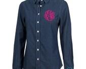 Monogrammed Dark Denim Shirt, Personalized Denim Shirt, Monogrammed Women's Chambray Shirts, Bridesmaid Shirts, Long Sleeve Denim shirts