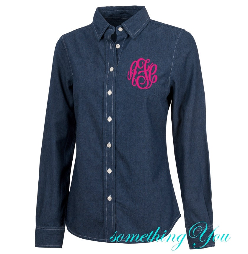 monogrammed dark denim shirt personalized denim shirt