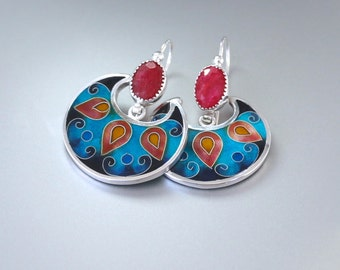 Cuento- cloisonne enamel, red ruby,silver earrings
