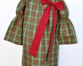 Girls Christmas Dress, Green Plaid Dress, Long Sleeve Dress, All Sizes, Holiday Dress, Girls Peasant Dress