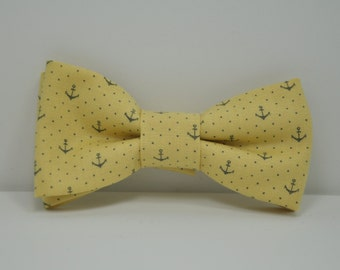 Yellow and Gray Anchor Bow Tie Men's Bowtie Gray and Yellow Nautical Tie