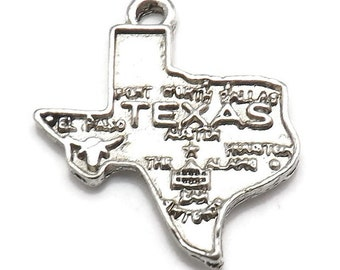 4 State of Texas Charms Silver Tone Metal (S316)