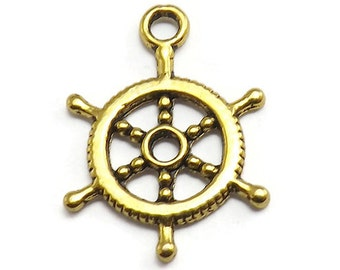 10 Ship Wheel Charms gold tone metal nautical boating rudder (S389)