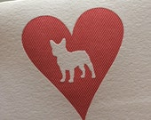 Heart: French Bulldog, single letterpress card