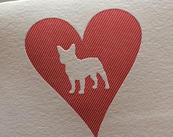 Heart: French Bulldog, single letterpress card