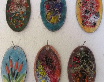 Handmade Enamel Pendant.  (117)