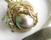Olive on Fire Necklace - FIreball Freshwater Pearl, Sapphires, 14k and Rose Gold Fill Wrapped
