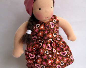 Valentines Day, Waldorf doll dress, 10 - 12 Inch, doll clothes, doll dress, pink hearts, gift for girls, Waldorf toy, germandolls