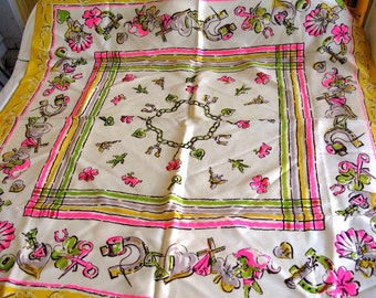 Vintage Good Luck Mid Century Scarf Hot Pink Yellow Green Bright Colors