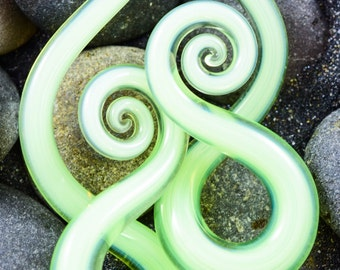 4G | Uranium | Mini Squids | Gauged Glass Body Jewelry for Stretched Piercings by Glassheart