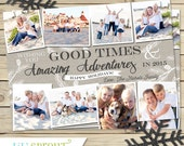 Winter Picture Collage Christmas Holiday Card - Digital File