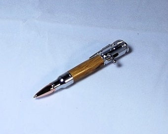 Handcrafted Mini 30 Caliber Bolt Action Pen Chrome with Marblewood