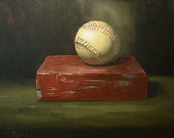 Baseball on a Brick, An Original Oil Painting by Patricia Reed,