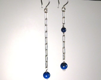 Lapis Lazuli and Sterling Chain Earrings