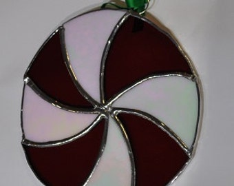 Stained glass-Large peppermint  swirl -suncatcher