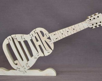Guitar Electric or Acoustic Choice  Instrument Puzzle Wooden Toy Hand Cut with Scroll Saw