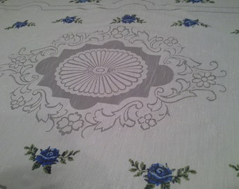 French lace tablecloth, white flowers table cloth, vintage withe tablecloth