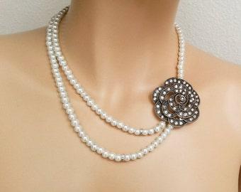 Wedding Pearl Necklace, Bridal Necklace, Statement Wedding Necklace Bridesmaid Pearl SET of 2 Vintage Art Deco Wedding Jewelry Rose Sukran