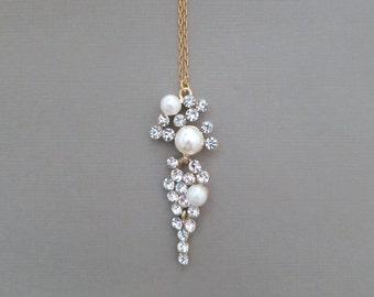 Bridal Statement Necklace, Wedding Necklace Bridal Jewelry, Pearl Wedding Necklace, Pearl Crystal, Bridal Jewelry, Gold Fill, Pearl Necklace