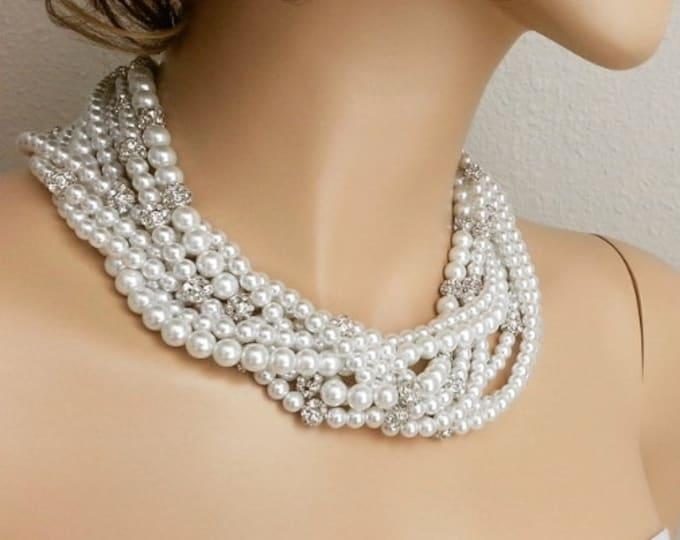 Gatsby Wedding Bridal Pearl Crystal Braided Necklace