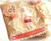 Valentine's Day Picture Frozen Charlotte Fiber Art Mixed Media Shabby Burlap Hanging