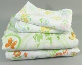 Vintage Full Double sheet set, remixed mix and match floral print set, white with wild flowers