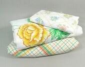 Vintage Twin sheet set, remixed prints, white yellow orange green checkered floral prints