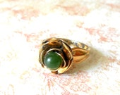 SALE! Vintage Art Deco Vermeil & Jade Flower Ring - sz 4 1/2, 14KT sterling silver, green flower ring, Art Deco, Retro Moderne jewelry