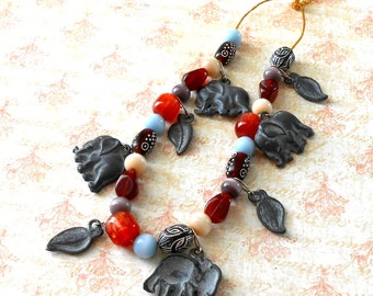 Vintage African Trade Bead Style Beads & Oxidized Charms - Animal Charms, Elephant Charms, Leaf Charms, Faux Gemstones, Plastic Lucite Bead