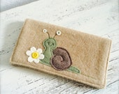 Slimy the Snail Daisy Checkbook Cover Repurposed Wool