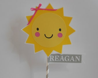 You Are My Sunshine Smash Cake Topper -Yellow, Gray and White - Child Party Decorations