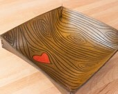 Leather Catch-All Tray - red and antique browwn - Nice Pattern with Wood Grain and Heart