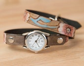 Ladies Leather Watch - Handmade Skinny Double Wrap Watch in the Aurora Pattern with Flowers - Pink, Turquoise, Silver and antique black